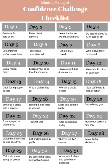 Confidence Challenge Checklist